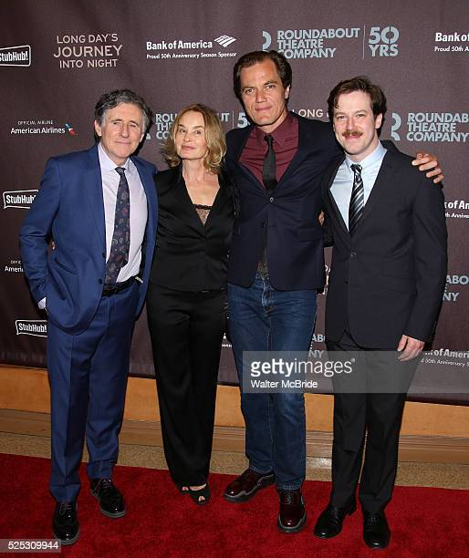 Gabriel Byrne Jessica Lange Michael Shannon and John Gallagher Jr during the Broadway Opening Night Press Reception for 'Long Days Journey Into...