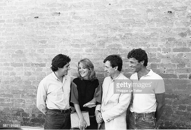 Gabriel Byrne Jill Clayburgh Costas Gavras Mohamed Bakri at the Venice Film Festival for the movie 'Hannah K' Italy 1983