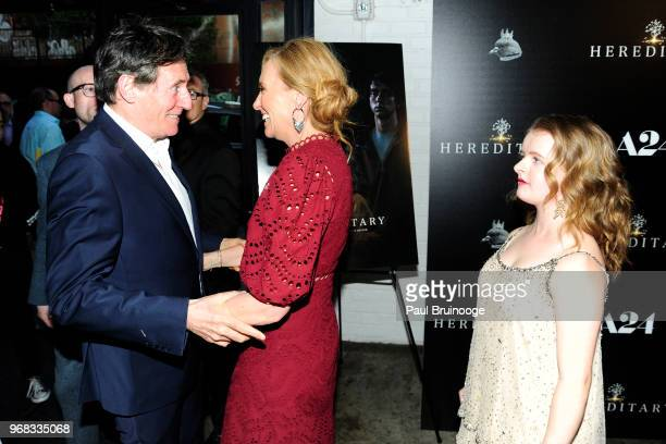 Gabriel Byrne Toni Collette and Milly Shapiro attend A24 Hosts A Screening Of Hereditary at Metrograph on June 5 2018 in New York City