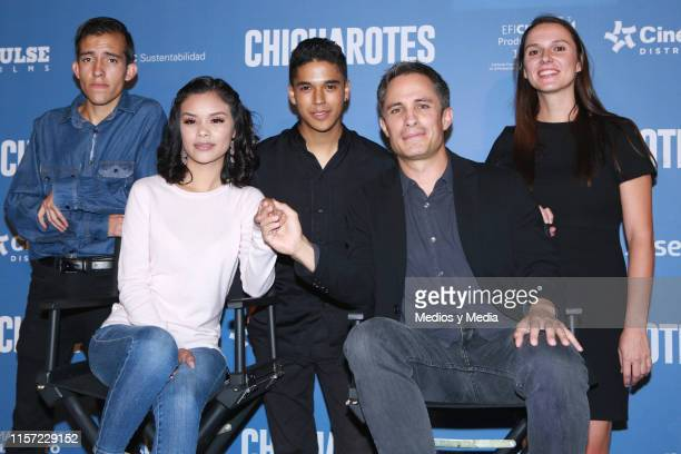 Gabriel Carbajal Leidi Gutierrez Benny Emmanuel and Gael Garcia Bernal pose for photos during a press conference to present the film 'Chicuarotes' at...