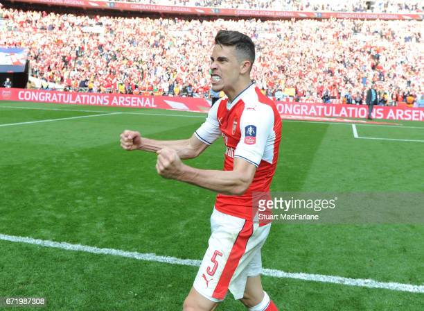 Gabriel celebrates Arsenal's victory after the Emirates FA Cup SemiFinal match between Arsenal and Manchester City at Wembley Stadium on April 23...
