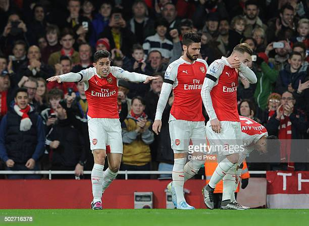 Gabriel celebrates scoring Arsenal's 1st goal during the Barclays Premier League match between Arsenal and Bournemouth at Emirates Stadium on...