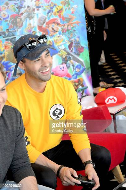 Gabriel Chavarria puts his gaming skills to the test playing Mario Kart 8 Deluxe on Nintendo Switch at the Variety Studio at ComicCon 2018 on July 20...