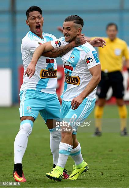 Gabriel Costa of Sporting Cristal celebrates after scoring the second goal of his team during a match between Sporting Cristal and Juan Aurich as...