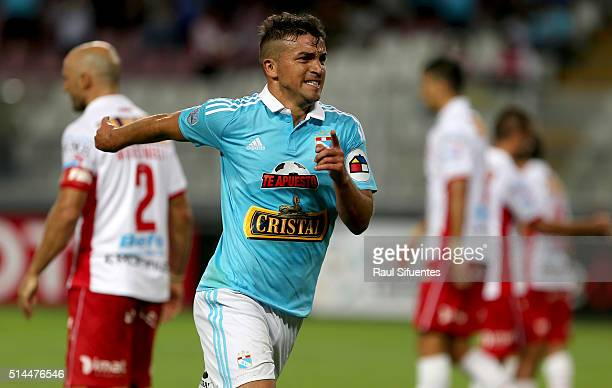 Gabriel Costa of Sporting Cristal celebrates the first goal of his team against Huracan during a group stage match between Sporting Cristal and...