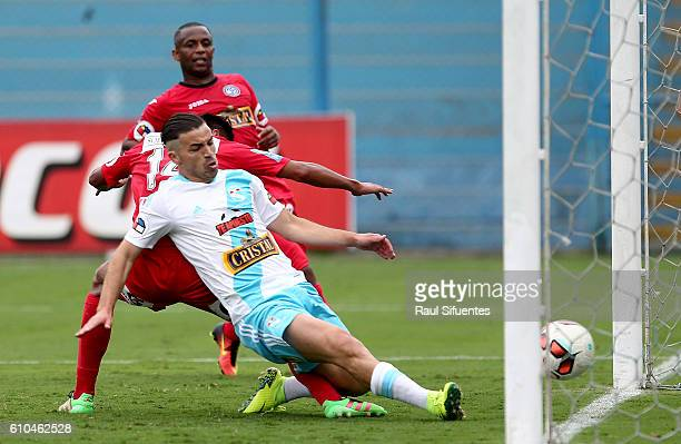 Gabriel Costa of Sporting Cristal scores the second goal of his team against during a match between Sporting Cristal and Juan Aurich as part of...
