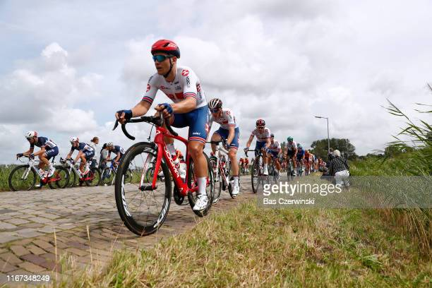 Gabriel Cullaigh of Great Britain / Daniel Mclay of Great Britain / Luke Rowe of Great Britain / Cobblestones / Peloton / during the 25th UEC Road...