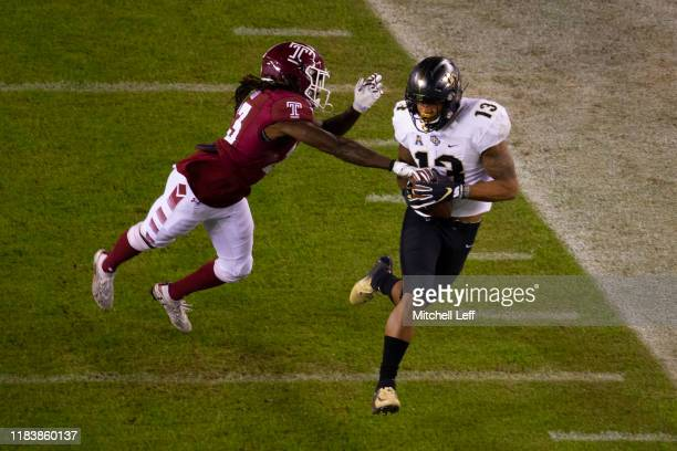 Gabriel Davis of the UCF Knights catches a pass against Harrison Hand of the Temple Owls in the first quarter at Lincoln Financial Field on October...