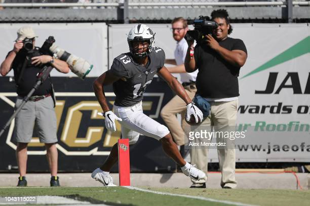 Gabriel Davis of the UCF Knights celebrates his touchdown reception against the Pittsburgh Panthers during a game at Spectrum Stadium on September 29...