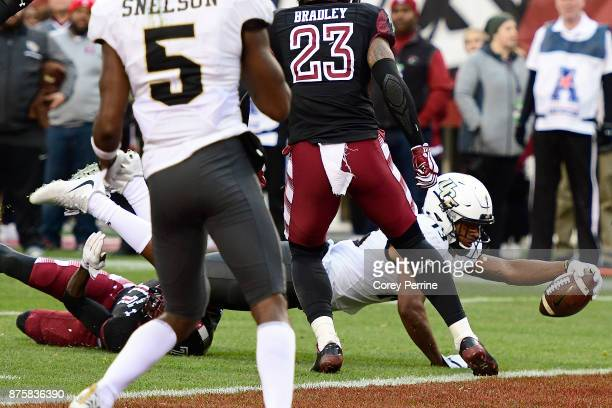 Gabriel Davis of the UCF Knights reaches for a touchdown against the Temple Owls during the second quarter at Lincoln Financial Field on November 18...