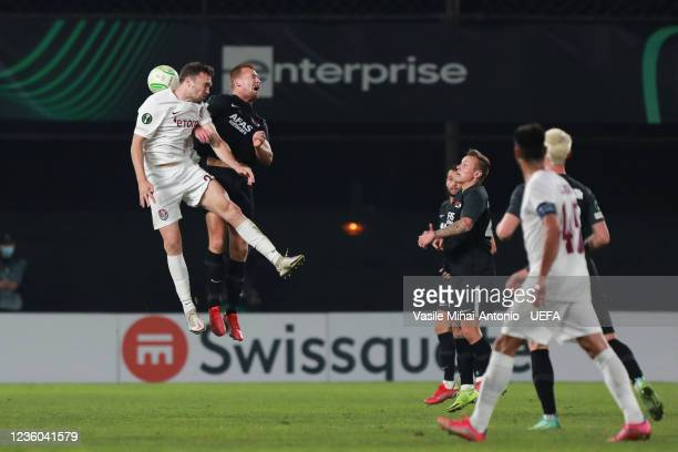 Gabriel Debeljuh of CFR Cluj is fighting for the ball during the UEFA Europa Conference League group D match between CFR Cluj and AZ Alkmaar at...
