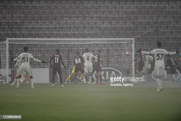 Gabriel Debeljuh of CFR Cluj scores own goal during the UEFA Europa League Group A match between CFR Cluj and AS Roma at Constantin Radulescu Stadium...