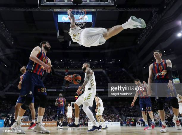 Gabriel Deck, #14 of Real Madrid dunks the ball during the 2019/2020 Turkish Airlines EuroLeague Regular Season Round 23 match between Real Madrid...