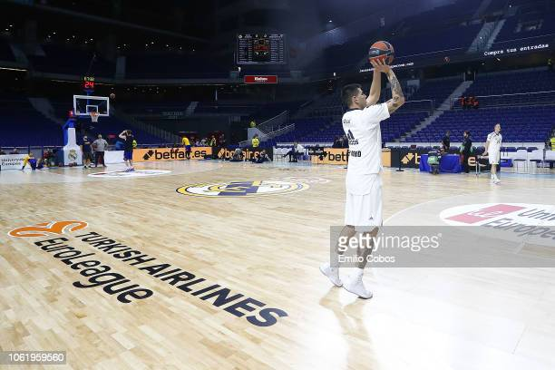 Gabriel Deck #24 of Real Madrid warming up before the 2018/2019 Turkish Airlines EuroLeague Regular Season Round 7 game between Real Madrid and...