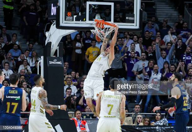 Gabriel Deck of Real Madrid dunks during the Turkish Airlines EuroLeague basketball match played between Real Madrid Baloncesto and Baskonia at...