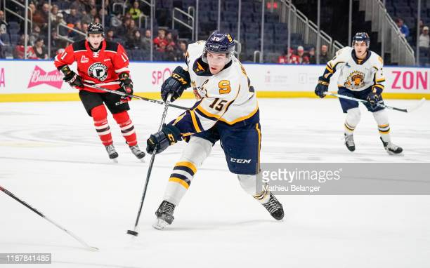 Gabriel Denis of the Shawinigan Cataractes skates during his QMJHL hockey game at the Videotron Center on October 26, 2019 in Quebec City, Quebec,...