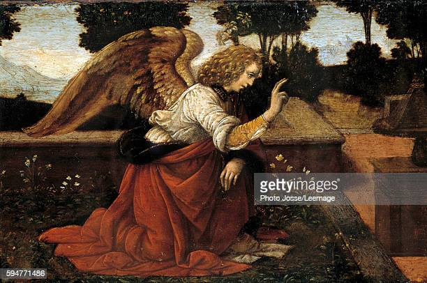 Gabriel Detail of The Annunciation Painting by Lorenzo di Credi 15th century 016 x 06 m Louvre Museum Paris France