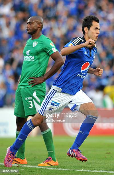 Gabriel Diaz of Millonarios celebrates after scoring the first goal of his team during a match between Millonarios and La Equidad as part of eighth...