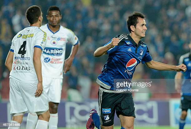 Gabriel Diaz of Millonarios celebrates after scoring the fourth goal of his team during a match between Millonarios and Deportivo Pasto as part of...