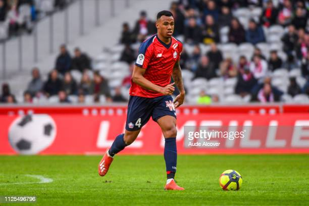 Gabriel Dos Santos Magalhaes of Lille during the Ligue 1 match between Lille and Montpellier at Stade Pierre Mauroy on February 17 2019 in Lille...