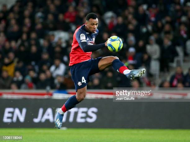Gabriel dos Santos Magalhaes of Lille during the Ligue 1 match between Lille OSC and Olympique Lyonnais at Stade Pierre Mauroy on March 8, 2020 in...