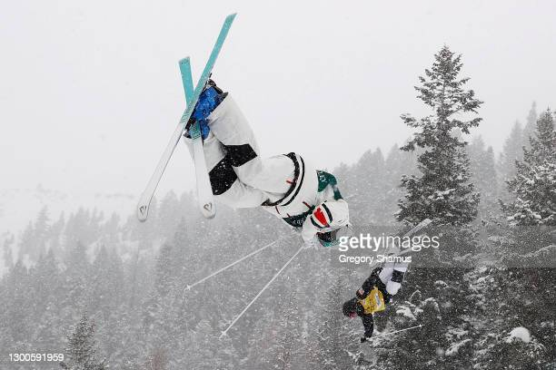 Gabriel Dufresne of Canada competes against Ludvig FJallstrom of Sweden in the Men's Duel Mogul during the 2021 Intermountain Healthcare Freestyle...