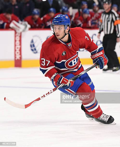 Gabriel Dumont of the Montreal Canadiens skates for position against the Phoenix Coyotes in the NHL game at the Bell Centre on February 1 2015 in...