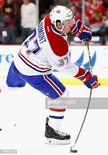 Gabriel Dumont of the Montreal Canadiens warms up before playing in the preseason game against the Chicago Blackhawks at the United Center on October...