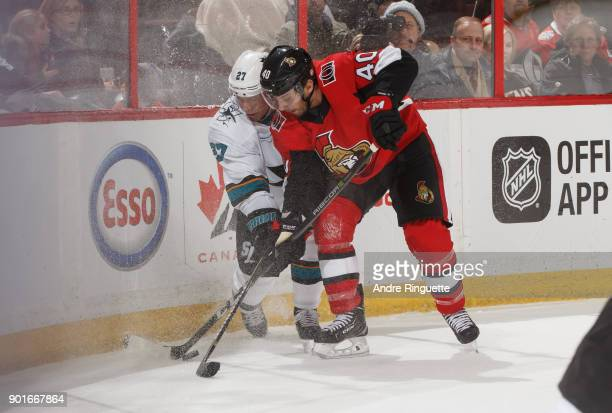 Gabriel Dumont of the Ottawa Senators battles for puck possession against Joonas Donskoi of the San Jose Sharks at Canadian Tire Centre on January 5...