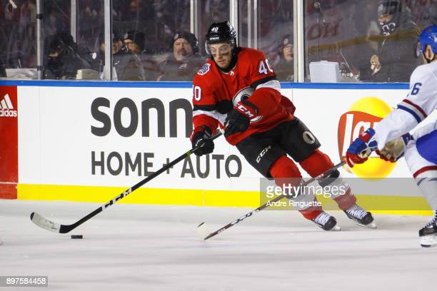 Gabriel Dumont of the Ottawa Senators skates against against the Montreal Canadiens in the 2017 Scotiabank NHL100 Classic at Lansdowne Park on...