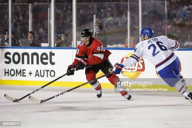 Gabriel Dumont of the Ottawa Senators skates against Jeff Petry of the Montreal Canadiens at the 2017 Scotiabank NHL 100 Classic at Lansdowne Park on...