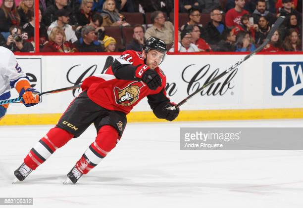 Gabriel Dumont of the Ottawa Senators skates against the New York Islanders at Canadian Tire Centre on November 25 2017 in Ottawa Ontario Canada