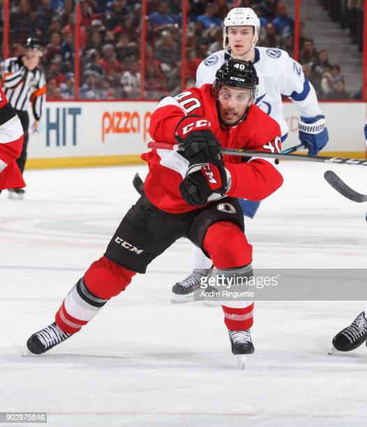 Gabriel Dumont of the Ottawa Senators skates against the Tampa Bay Lightning at Canadian Tire Centre on January 6 2018 in Ottawa Ontario Canada