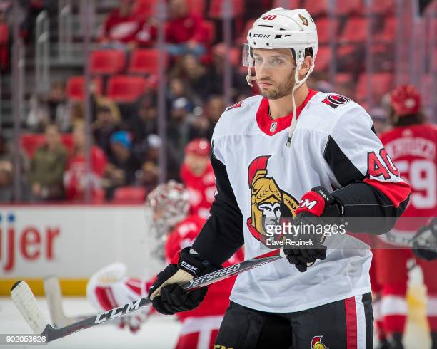 Gabriel Dumont of the Ottawa Senators skates in warmups prior to an NHL game against the Detroit Red Wings at Little Caesars Arena on January 3 2017...