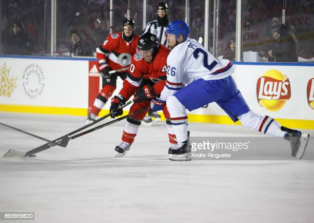 Gabriel Dumont of the Ottawa Senators skates with the puck against Jeff Petry of the Montreal Canadiens during the third period of the 2017...