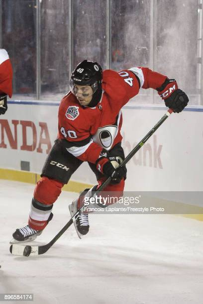 Gabriel Dumont of the Ottawa Senators skates with the puck against the Montreal Canadiens at the 2017 Scotiabank NHL 100 Classic at Lansdowne Park on...