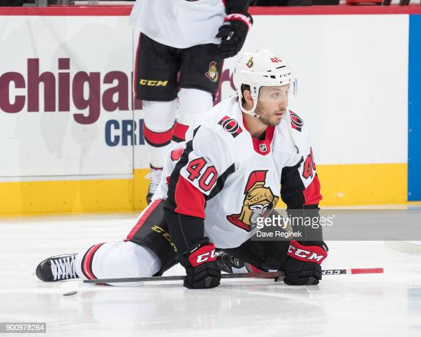 Gabriel Dumont of the Ottawa Senators stretches during warmups prior to an NHL game against the Detroit Red Wings at Little Caesars Arena on January...