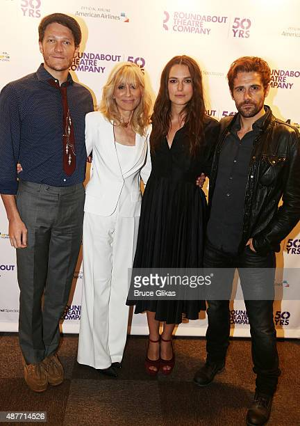 Gabriel Ebert Judith Light Keira Knightley and Matt Ryan pose at the Roundabout Theater Company's 50th Anniversary Season Party at The American...