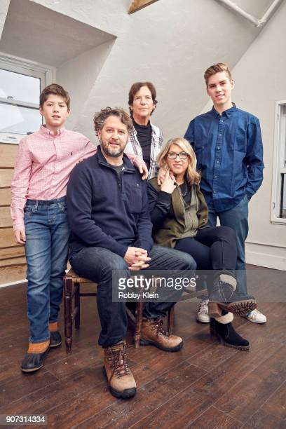 Gabriel Evers Producer Frank Evers Patricia Greenfield Director Lauren Greenfield and Noah Evers from the film 'Generation Wealth' pose for a...