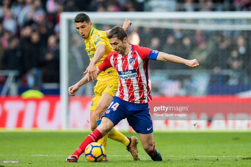Gabriel Fernandez Arenas, Gabi (R), of Atletico de Madrid battles for the ball with Gabriel Martin Penalba of UD Las Palmas during the La Liga 2017-18 match between Atletico de Madrid and UD Las Palmas at Wanda Metropolitano on January 28 2018 in Madrid, Spain.