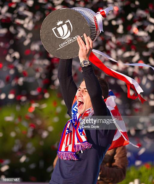 Gabriel Fernandez 'Gabi' holds the Copa del Rey trophy a day after winning the Copa del Rey Final against Real Madrid on May 18 2013 in Madrid Spain
