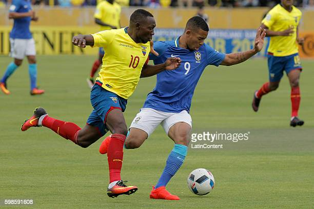 Gabriel Fernando Jesus of Brazil fights for the ball with Walter Ayovi of Ecuador during a match between Ecuador and Brazil as part of FIFA 2018...