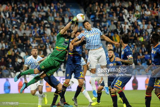 Gabriel Ferreira goalkeeper of US Lecce in action during the Serie A match between SPAL and US Lecce at Stadio Paolo Mazza on September 25 2019 in...