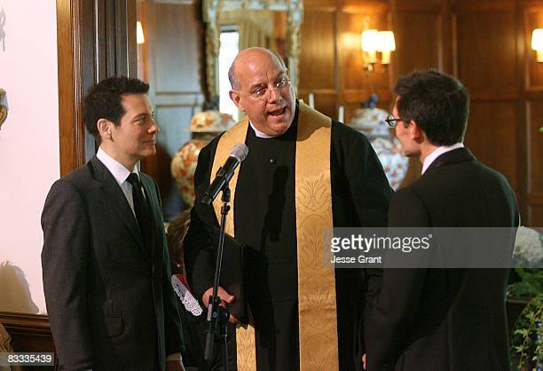 Gabriel Ferrer attends Michael Feinstein and Terrence Flannery's wedding ceremony held at a private residence on October 17 2008 in Los Angeles...