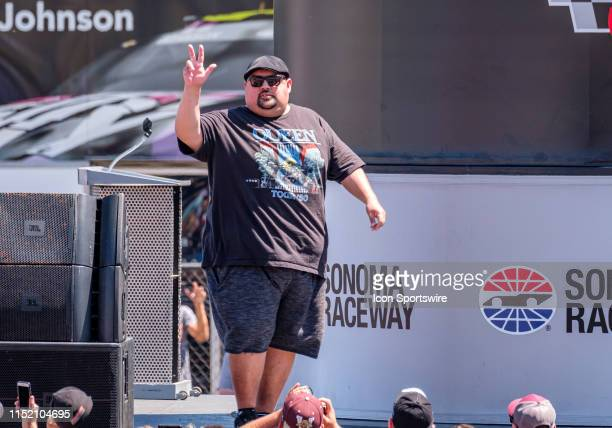 Gabriel Fluffy Iglesia on stage before leading the cars to the green flag at the Monster Energy NASCAR Cup Series Toyota/Save Mart 350 race on Sunday...