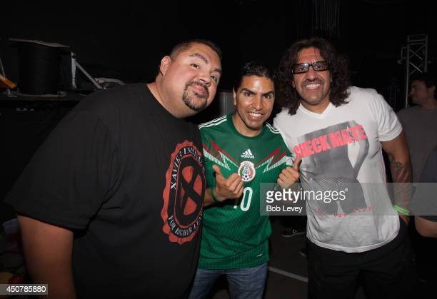 """Gabriel """"Fluffy"""" Iglesias, Piolin and Martin Moreno backstage at Piolin's Jugada Musical at House Of Blues Houston on June 17, 2014 in Houston, Texas."""