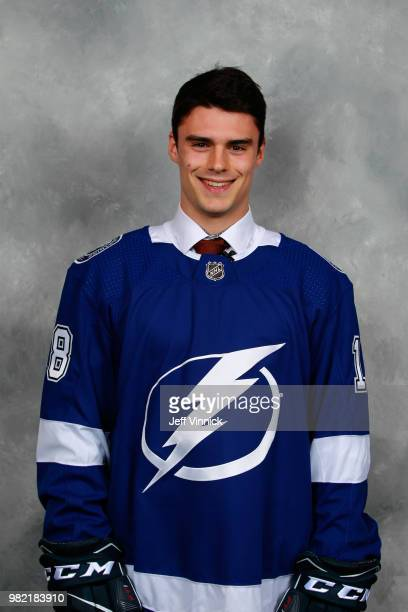 Gabriel Fortier poses for a portrait after being selected 59th overall by the Tampa Bay Lightning during the 2018 NHL Draft at American Airlines...