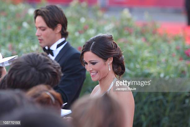 Gabriel Garko and Manuela Arcuri attend the opening ceremony and the Black Swan premiere at the Palazzo del Cinema during the 67th Venice...