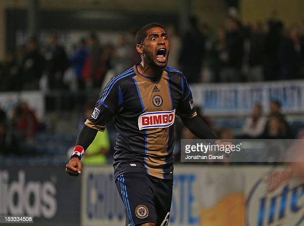 Gabriel Gomez of the Philadelphia Union celebrates a second half goal against the Chicago Fire during an MLS match at Toyota Park on October 3 2012...