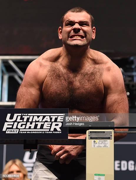Gabriel Gonzaga of Brazil weighs in during the UFC weighin inside MGM Grand Garden Arena on December 10 2015 in Las Vegas Nevada